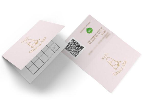 ネイルサロンの二つ折りのスタンプカードデザイン