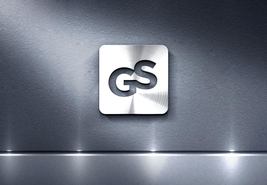 金属的な輝きを放つ企業のロゴデザイン