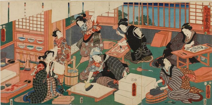 浮世絵(木版画)の印刷風景