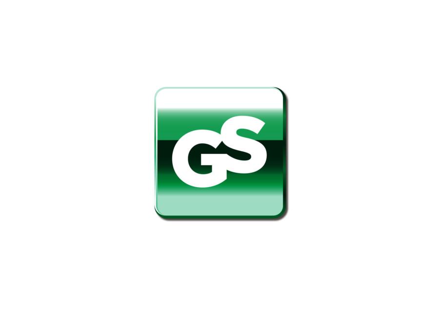金属的な輝きを放つ企業のロゴ