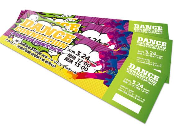 海外コミック調のダンスイベントのチケットデザイン