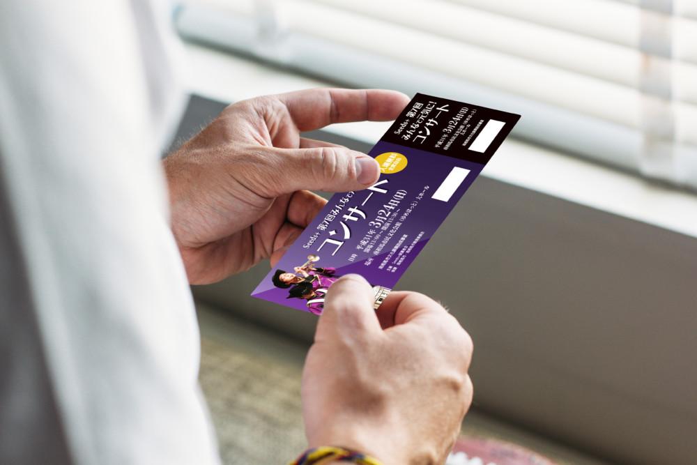 マーチングバンド・吹奏楽団コンサートのチケットデザイン作成例