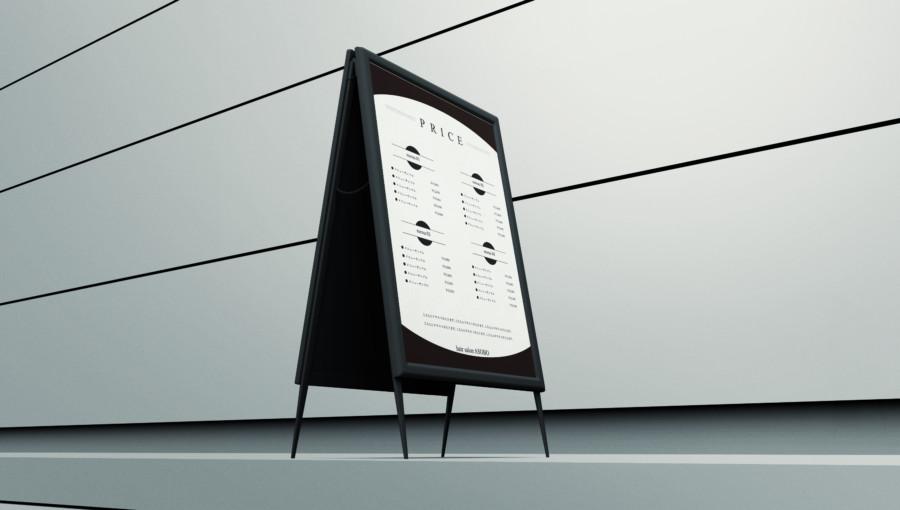 スタイリッシュなサロン向けの無料メニューデザインテンプレート見本2