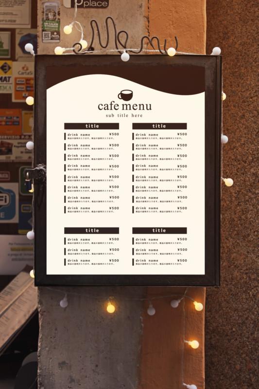 シンプルなカフェ向けの無料メニューデザインテンプレート見本