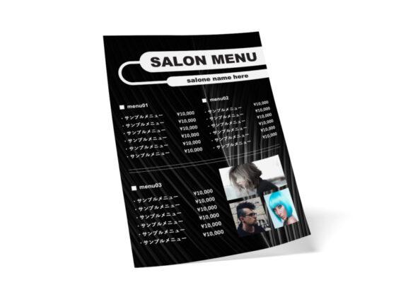 シンプルなサロン向けの無料メニューデザインテンプレート