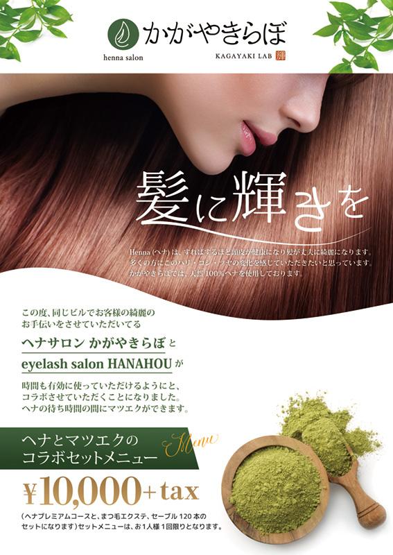 髪に輝きを与えるヘナサロンのチラシ_B5サイズ_表