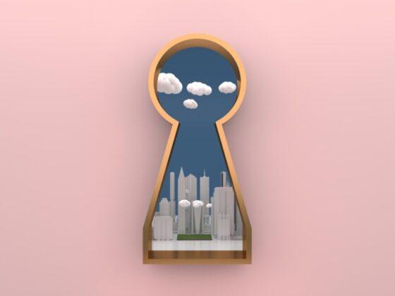 ビル街をモチーフにしたロゴデザイン