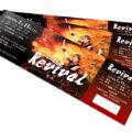 和太鼓コンサートの熱気溢れるチケットデザインを作成しました。