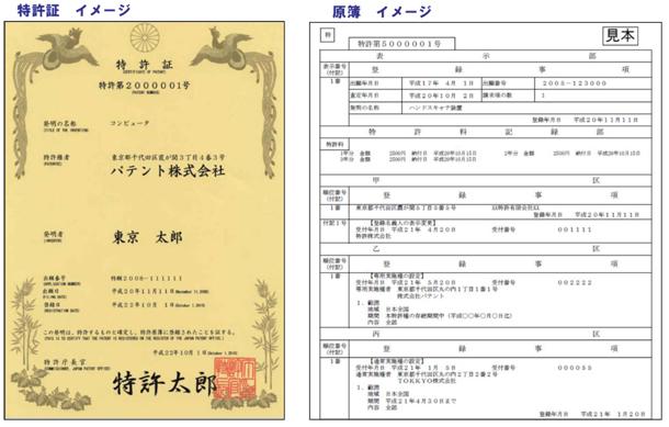 「特許(登録)証」及び「登録原簿」 見本