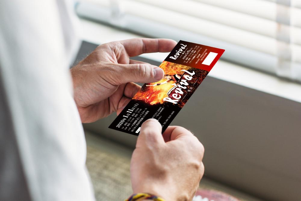 情熱的なデザインのライブチケット作成例