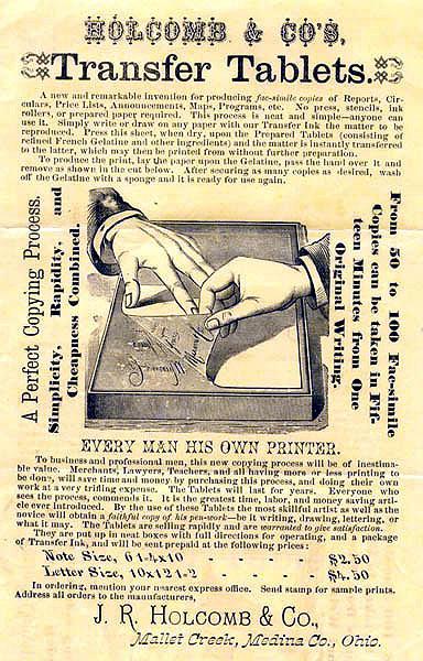 19世紀のヘクトグラフの広告デザイン