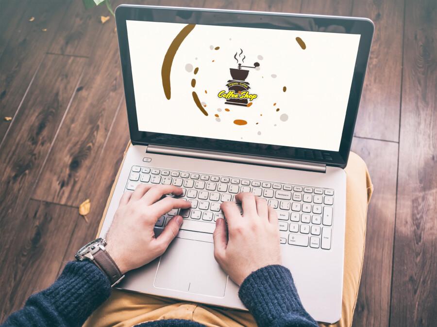 コーヒーショップのモーションロゴ作成例_B