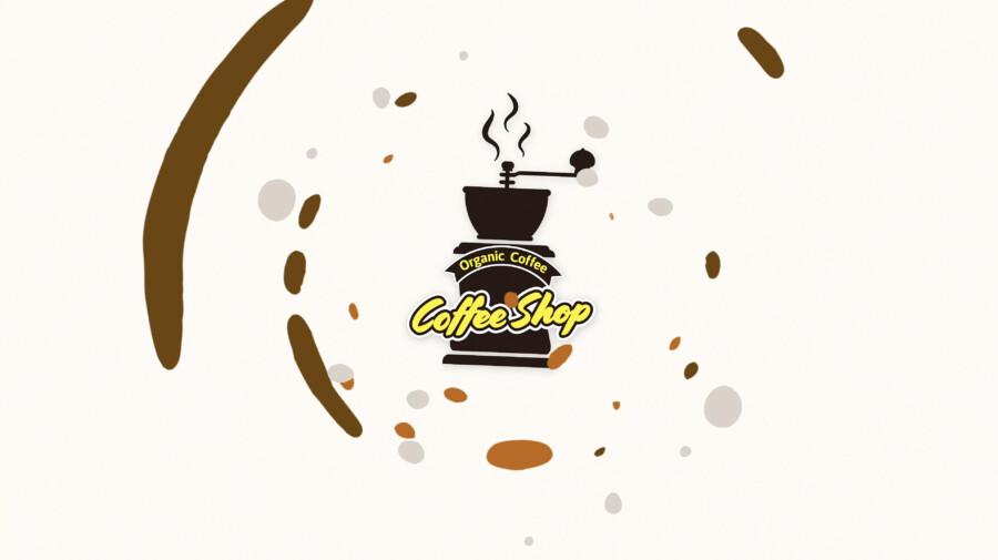 コーヒーショップのモーションロゴデザイン