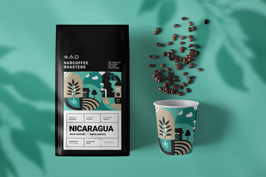 コーヒー豆のパッケージデザイン作成例