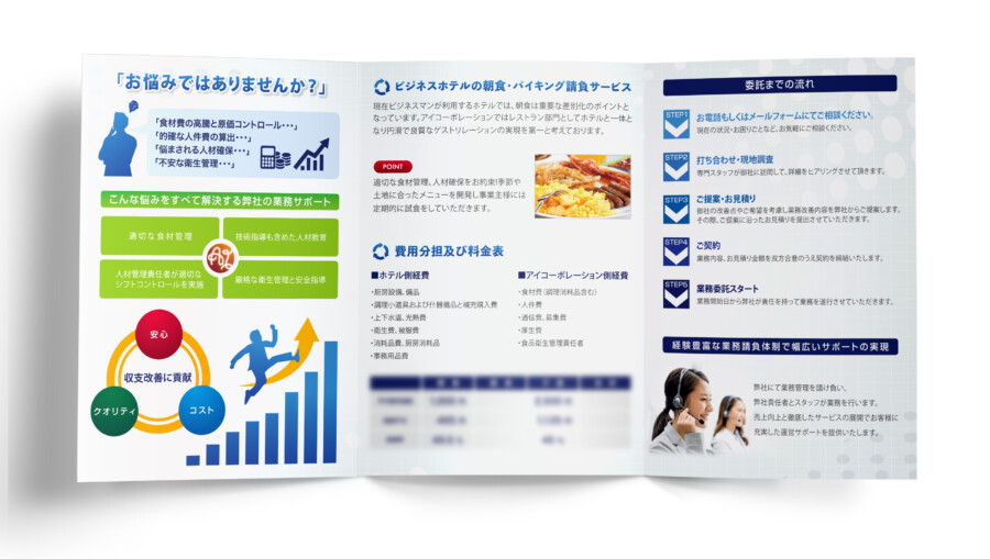 飲食業界人材サポート企業の会社案内デザイン_2