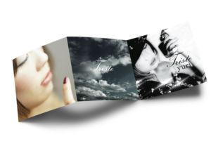 女性アーティストの退廃的なイメージの歌詞カードデザイン_表